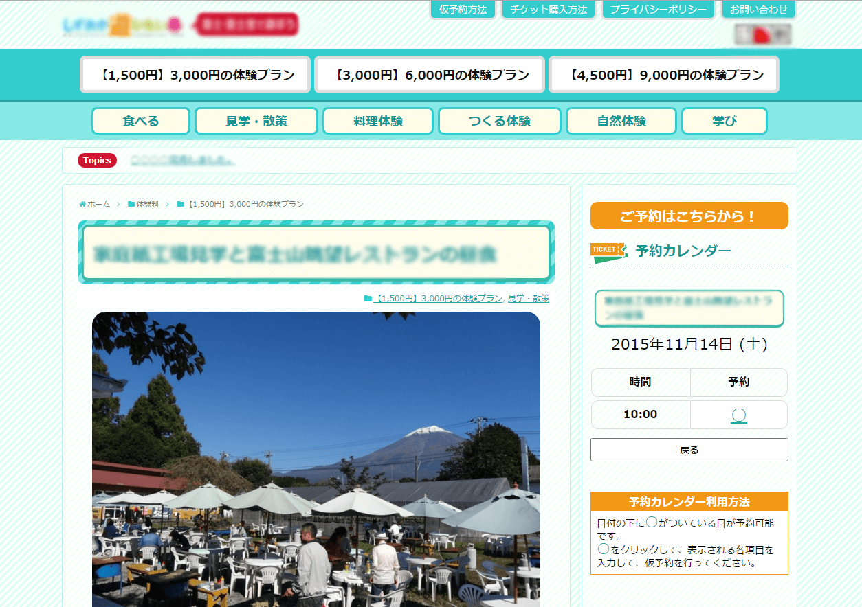 「MTS Simple Booking」予約カレンダー